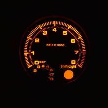 Новый 3.75 дюймов (95.25 мм) Черный корпус желтый подсветкой тахометр 0-8000 ОБ./МИН. автоматический измерительный прибор бесплатная доставка