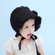 Estilo Vintage niña Encaje sombrero lindo del casquillo de la flor para bebé  princesa verano capó d3a95bd7faf