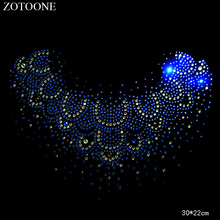 ZOTOONE Sewing Motif Rhinestones for Needlework Necklace Crystal Clear Hotfix Rhinestone  Applique Clothes Decoration E