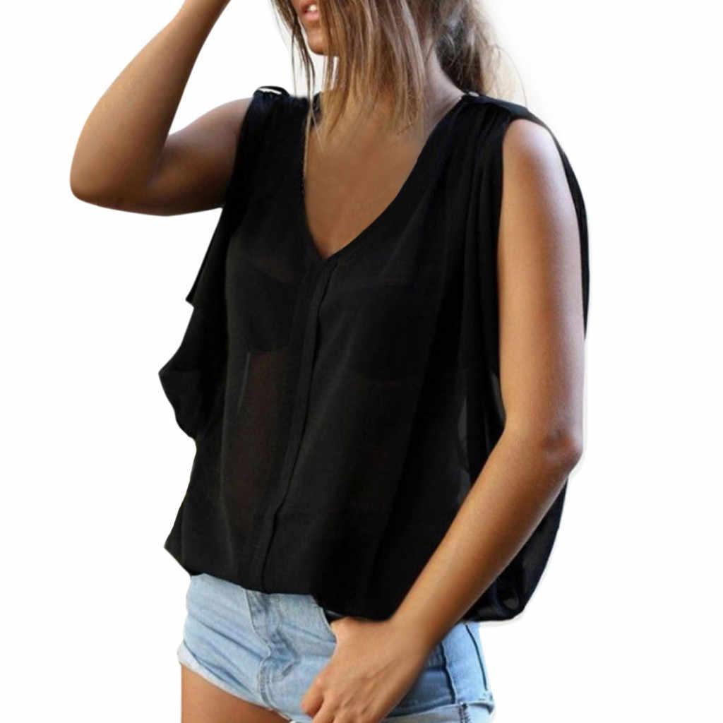 女性ブラウス V ネック夏コールドショルダーノースリーブベストレディースシャツカジュアル固体チュニックトップス女性ブラウスルース blusas エレガントな