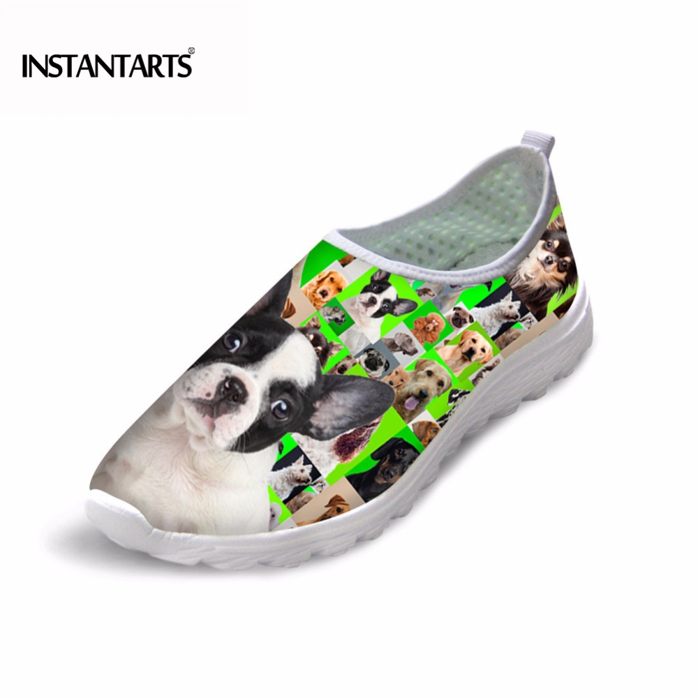 INSTANTARTS Women Air Mesh Sneakers Breathable Light Summer Spring Slip-on Flat Shoes Cute Poodle Labrador Pug Dog Print Sneaker(China)