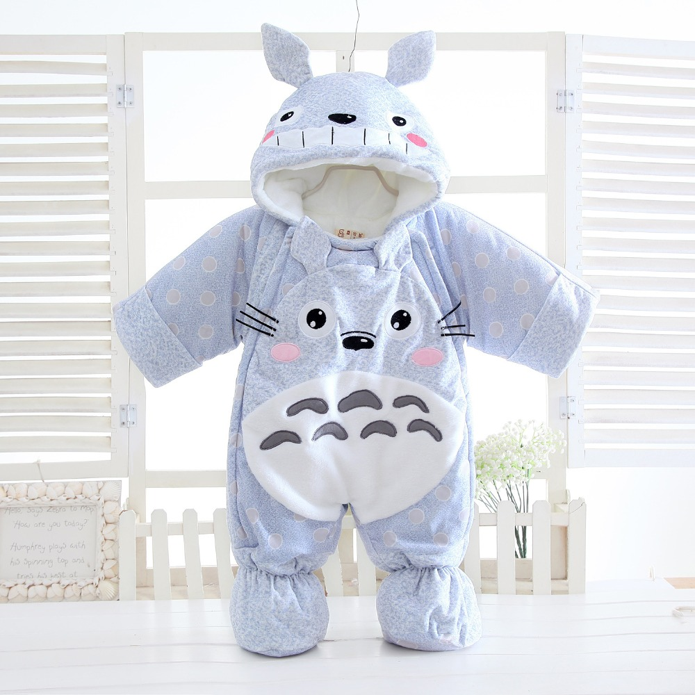 6M-24M Cartoon Cat Baby Rompers Winter Warm Clothing Set for Boys Animal Infant Girls Clothes Newborn Overalls Baby Jumpsuit kids winter overalls for girls 2017 newborn clothes infant cartoon baby boys hooded rompers thicken warm cotton baby snow suits page 2