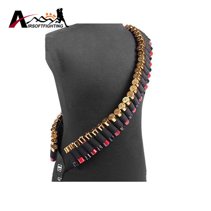 140 * 5cm 50 Shotgun Shell Bandolier Belt 12 GA 20GA Tactical Jakt Ammo Carrier Airsoft Justerbar Rifle Cartridge Belt #