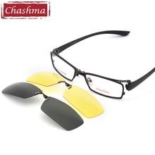 Chashma dia e noite condução clipe polarizado óculos de sol qualidade óptica ímã óculos quadro mopia quadro óculos dos homens