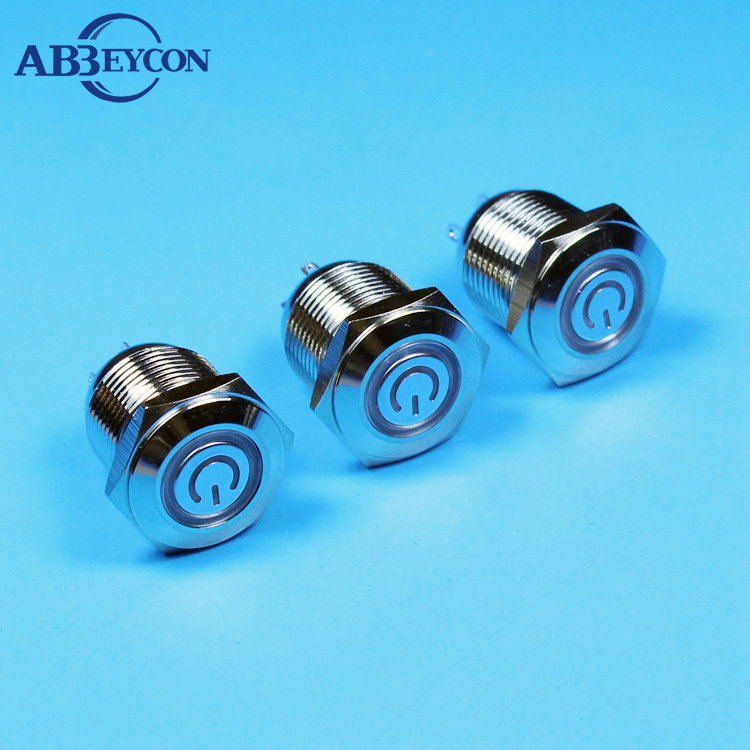 Illuminated 16mm Push Button Metal Switch Latching with Blue LED Ring IP65