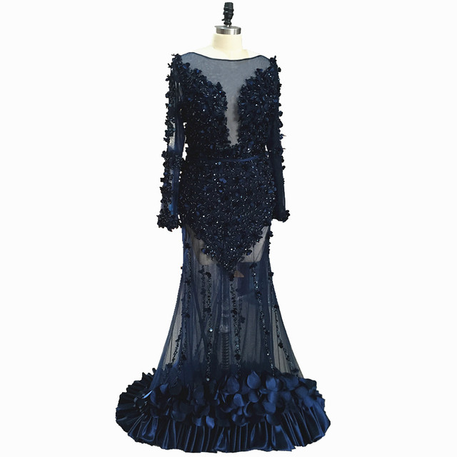 Long Sleeves Mermaid Prom Dresses 2020 Illusion Dubai Navy Beading Crystal Sequined Formal Evening Party Gowns Lace 3D flowers 2