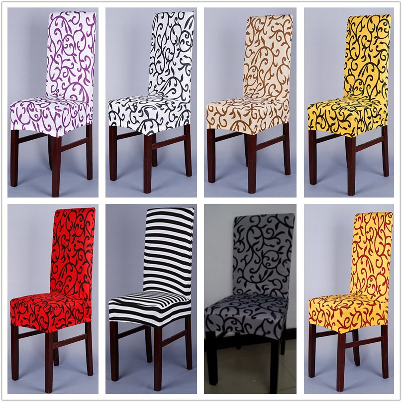 1 Piece Sure Fit Soft Stretch Spandex Pattern Chair Covers For Kitchen Short Dining Cover Purple Grey Champagne V43