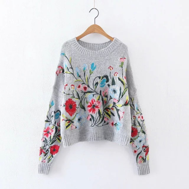 B0325G14 Europe and the United States 2017 new whole body embroidered light gray sweater 8525