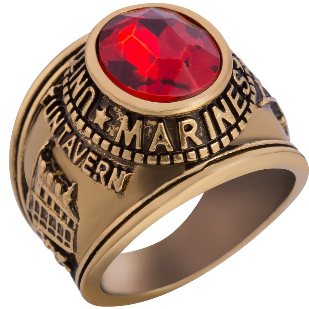 Size 7-15 Gold and Silver Plated Retro Vintage United States Marines <font><b>USMC</b></font> <font><b>Ring</b></font> image