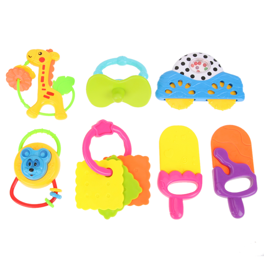 7pcs Baby Infant Cartoon Handbells Developmental Baby Toys Lovely Animals Graping Handbells Educational Toy(Color Random)
