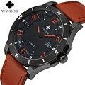 Brown Genuine Leather Strap Data dos homens Relógios Top Marca de Luxo Masculino Relógio À Prova D' Água Esportes Homens Relógio De Quartzo Militar Do Exército Ocasional