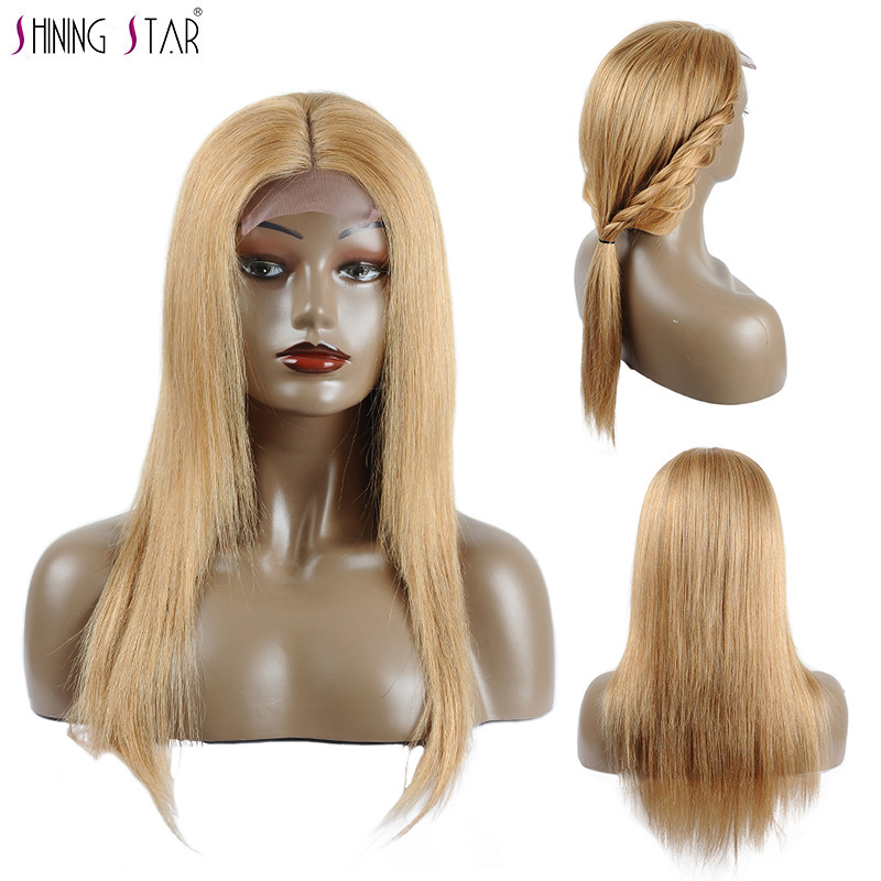 Shining Star Honey Blonde Lace Front Human Hair Wigs Straight Colored 27 Brazilian Hair Wigs For Black Women 180 Density Nonremy