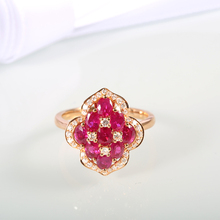 Robira Elegant 18K Rose Gold Ring Unique Design Vintage Party Wedding Ruby Rings For Women Gifts Fashion Jewelry