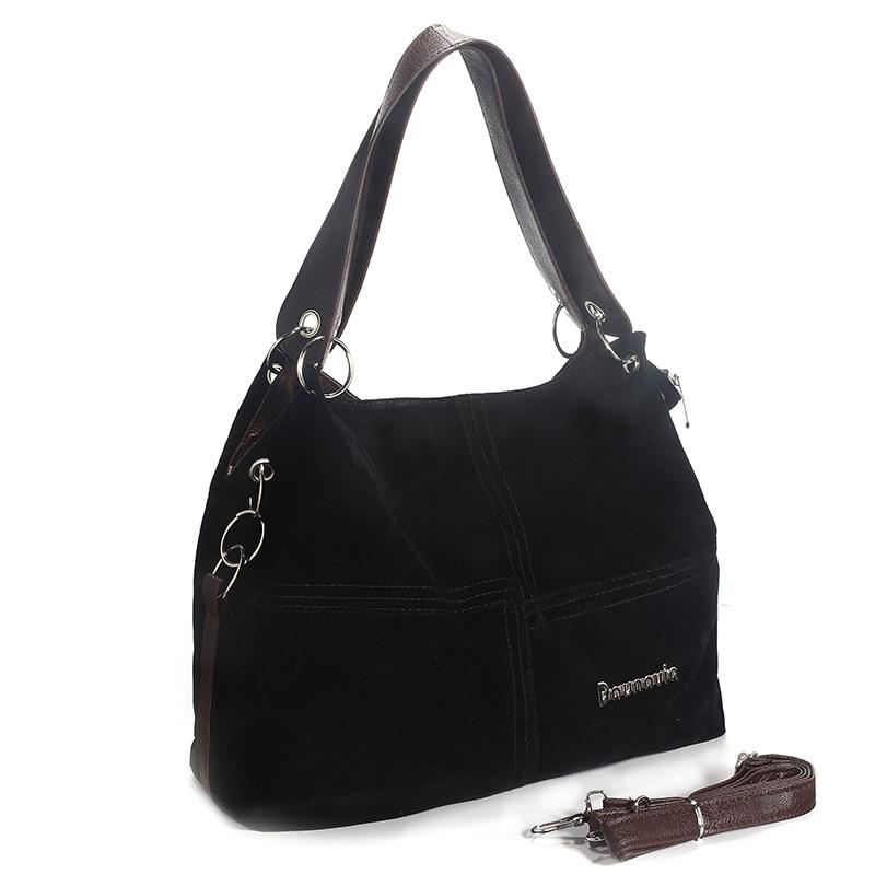 Daunavia фирменные сумки из натуральной кожи женские большие сумки Высокое качество Женские сумки через плечо, сумки с высокой ручкой, из мягкого вельвета винтажная Сумка-тоут - Цвет: Черный