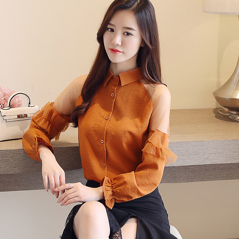 2018 New Autumn Women   Shirts   Full Sleeve Chiffon Hollow Out Slim Business Attire   Blouse     Shirt   Brown White 263
