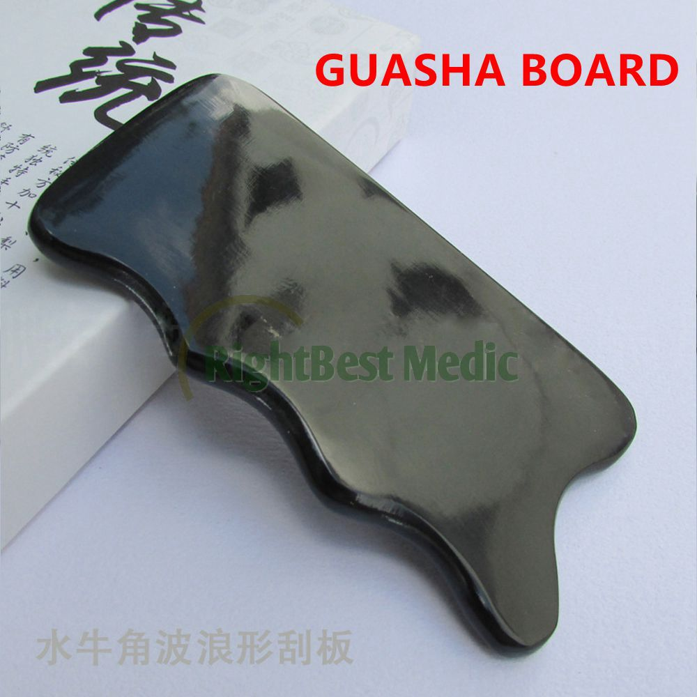 BUFFALO HORN Scraping Plate Gua Sha Board Scarping Therapy Traditional Chinese Massager BLACK WAVE Shape