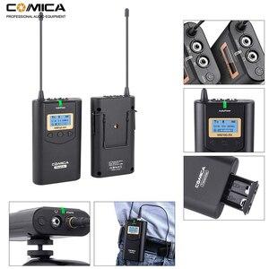 Image 4 - Comica CVM WM100 UHF 48 채널 Canon Nikon Sony DSLR 카메라/스마트 폰용 무선 라 발리에 옷깃 마이크 시스템