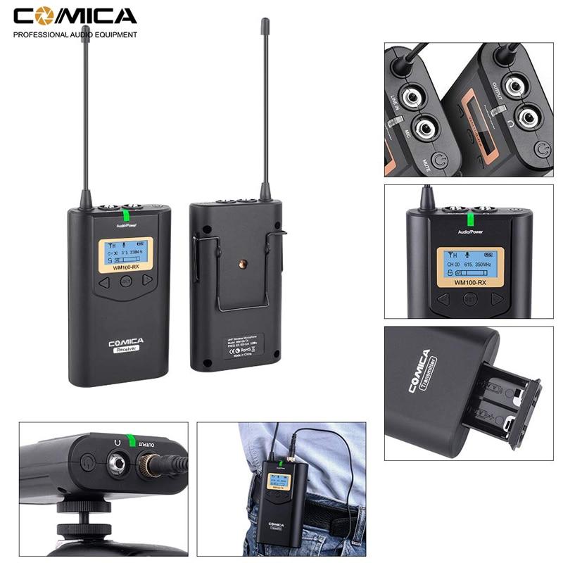 Image 4 - Comica CVM WM100 UHF 48 Channels Wireless Lavalier Lapel Microphone System for Canon Nikon Sony DSLR Cameras/ Smartphones etc.Microphones   -