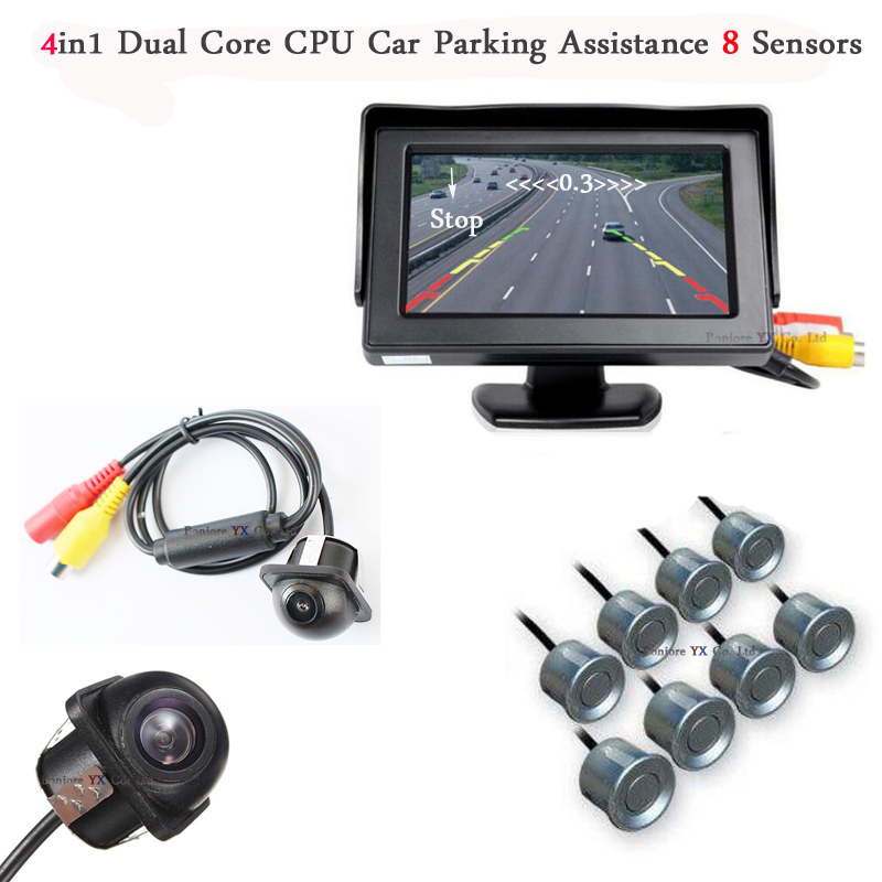 Dual Core CPU Car Video Parking Sensor 8 Radars Parktronic with rear view camera Front camera car detector Vehicle Mirror Beep dual core cpu car parking sensors 4 radars hd car monitor bluetooth mp5 4 fm auto rear view camera parktronic parking system