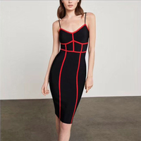 New Fashion Black With Red Women Bandage Party Dress Spaghetti Strap Bodycon Midi Sexy Causal Hourglass Figure Dresses Wholesale