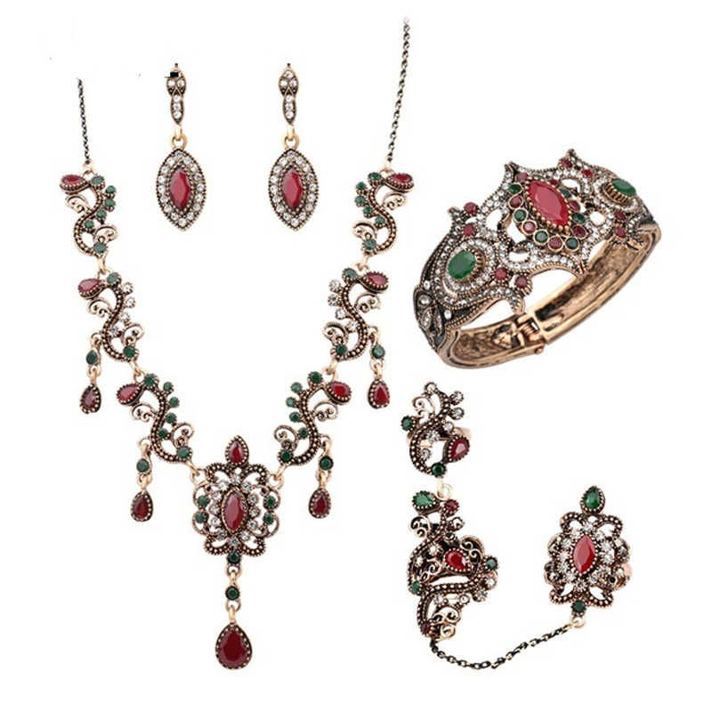 Luxury 4Pcs Turkey Jewelry Sets Vintage Look Red Necklace Earrings Set Color Antique Gold Unique Crystal Love Gift For Women