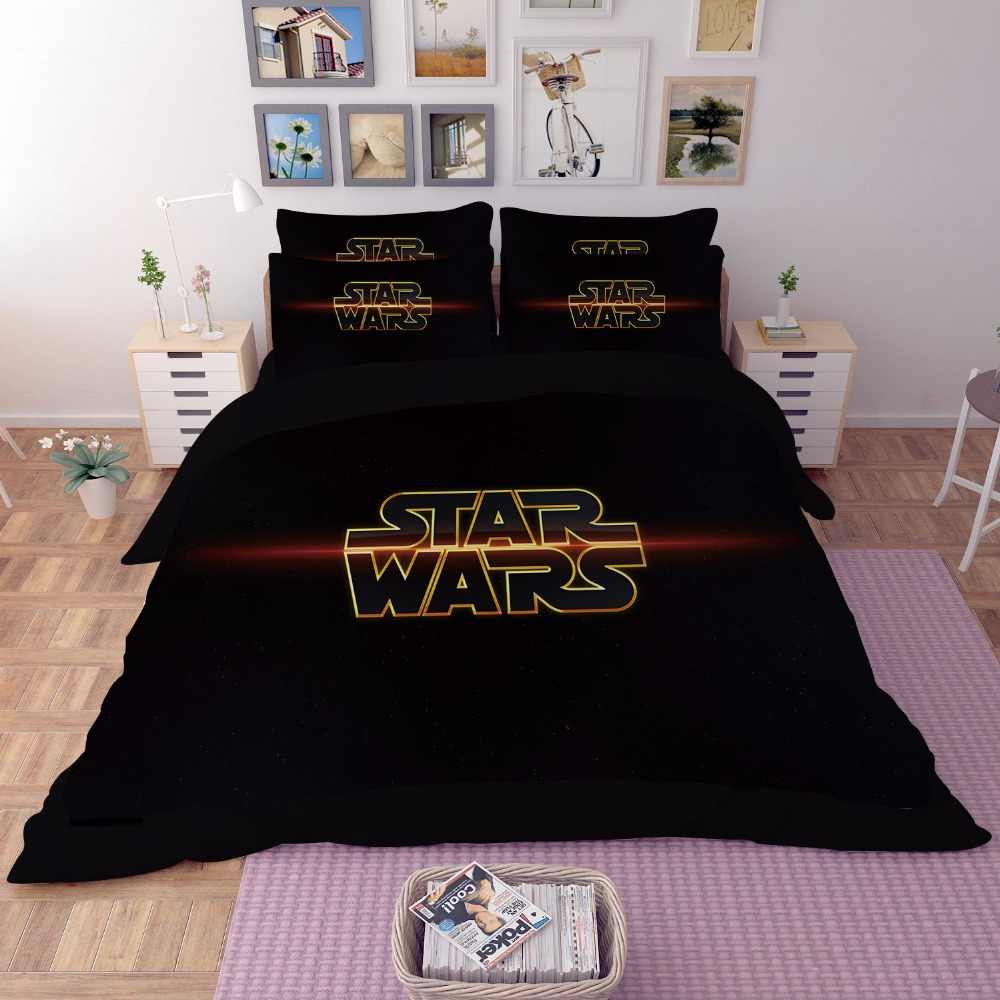 HD 5D 3D Star Wars Film Bedding Set King Queen full Twin Size 3PCS black Duvet Cover Sheet PillowCase housse de couette ropa 25