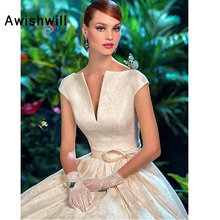 Vestido de Noiva Court Train A-Line Vintage Wedding Dresses Cap Sleeve Lace-up Back Princess Bridal Gown Custom Made