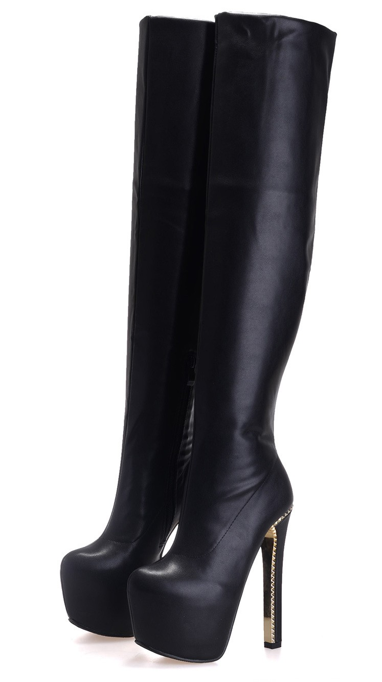 Sexy High Heels Genuine Leather Over The Knee Boots Black Shoes Women Knight Boot Slim Long Party Winter Ladies Shoes SMYCN-1103 only true love genuine leather shoes woman winter long boots square heels sexy women over the knee high boots