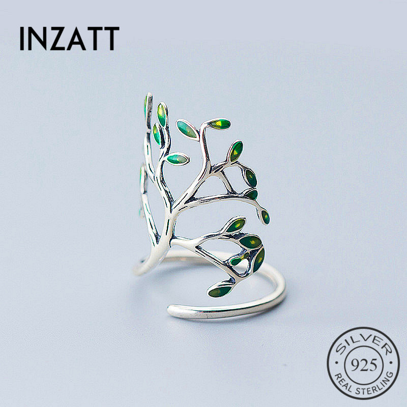 INZATT Exquisited Tree Shape Women Sterling-925silver Women Ring Personality Trendy Green Spray Paint Leaf Fine Jewelry Bijoux  INZATT Exquisited Tree Shape Women Sterling-925silver Women Ring Personality Trendy Green Spray Paint Leaf Fine Jewelry Bijoux