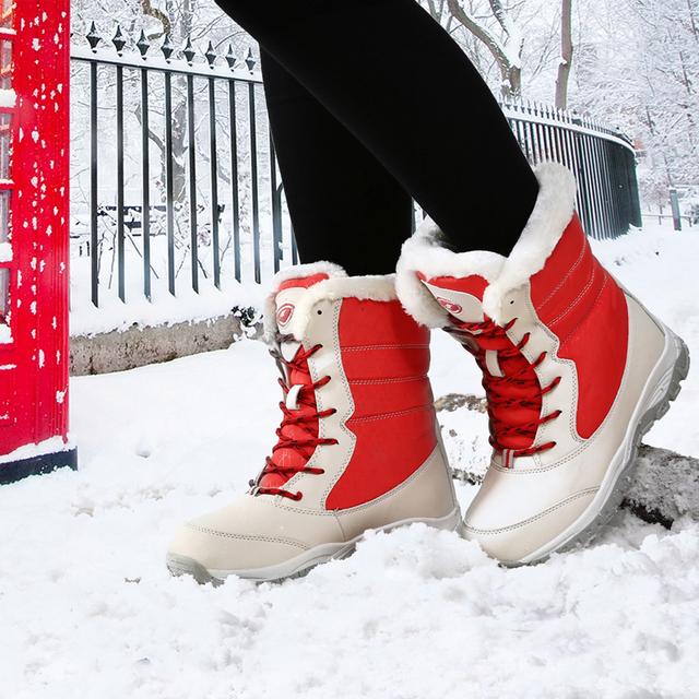 2017 botas de Invierno Botas de Mujer de Cuero Genuino Lace Up Boots Mujer de Esquí Impermeable Al Aire Libre Tamaño de Los Zapatos 41