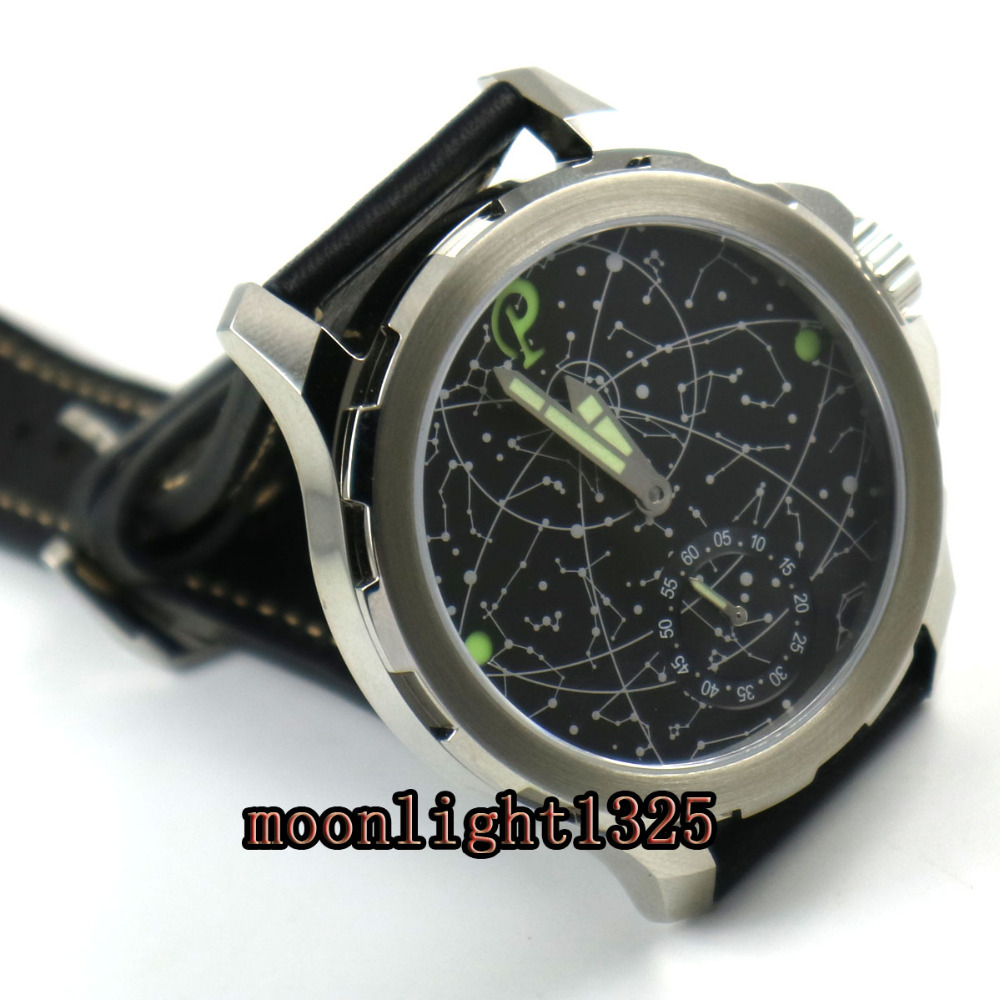 2017 new arrive 44mm mens parnis constellation steel Case Leather Sapphire glass Luminous 6498 hand Winding uhr Watch-in Mechanical Watches from Watches    3