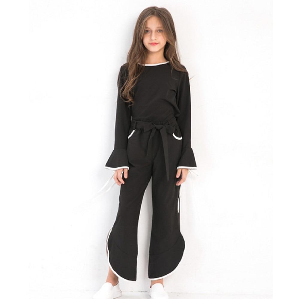 Teenage Child Girl Clothes Outfit Black Chiffon Girls Summer Set Long Sleeve 2pcs Kids Clothing Set 6 8 9 10 12 14 years Fashion Одежда