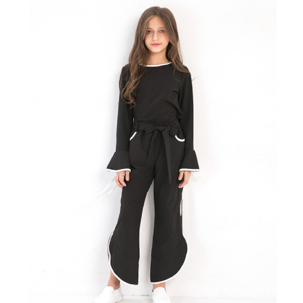 d1c490fe50d38 Teenage Child Girl Clothes Outfit Black Chiffon Girls Summer Set Long  Sleeve 2pcs Kids Clothing Set 6 8 9 10 12 14 years Fashion