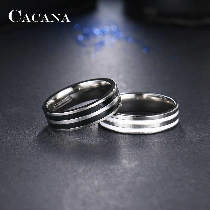 CACANA paslanmaz çelik yüzükler kadınlar için çift döngü seramik mozaik moda takı toptan NO.R84
