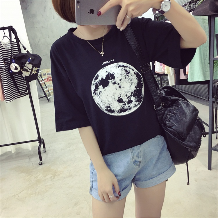 HTB1811APFXXXXcbaXXXq6xXFXXXb - Summer Planet Earth Printed Loose Short Sleeve T Shirts