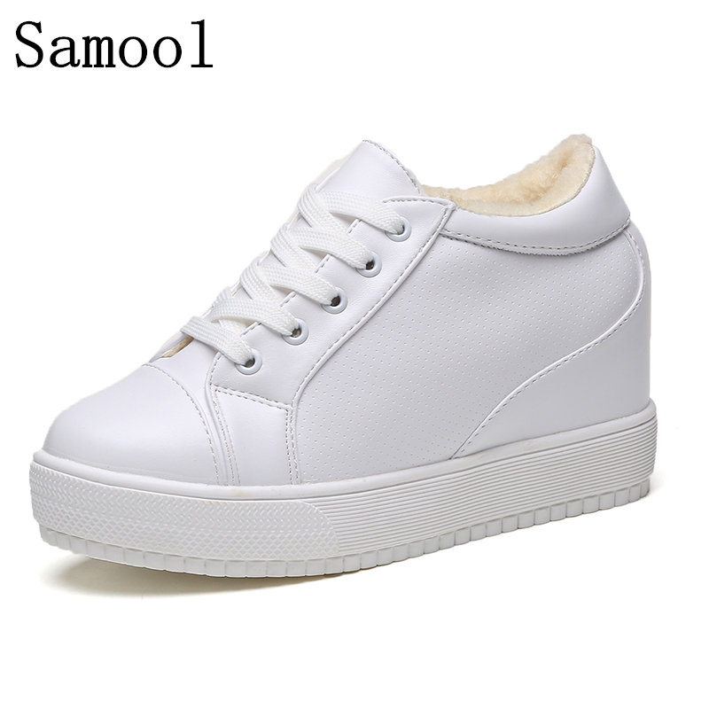 2017 Winter Keep Warm With Fur Ladies Casual Shoes, Breathable White Women Sneakers Fashion Female Flat Heel Casual Girl Shoes latest style women s loafers girl white shoes fashion women s shoes 2017 ox fur embroider deodorization massage