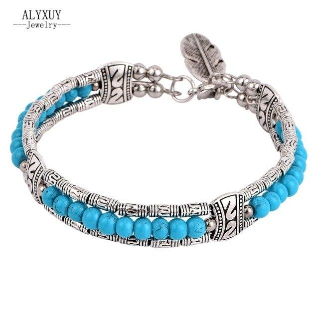 Nuevos accesorios de época joyería de plata de color azul cuentas de ...