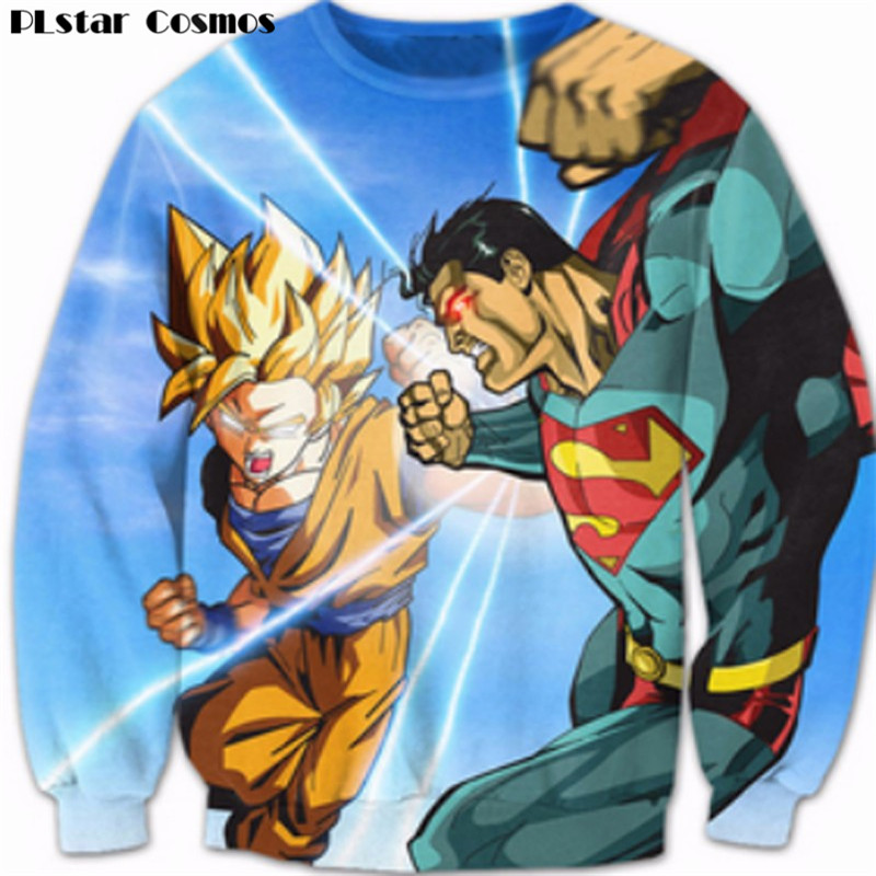 PLstar Cosmos Goku/Superman Crewneck Sweatshirts Women Men 3dFashion Clothing Harajuku Sweats Jumper Outfits Dragon Ball Hoodies