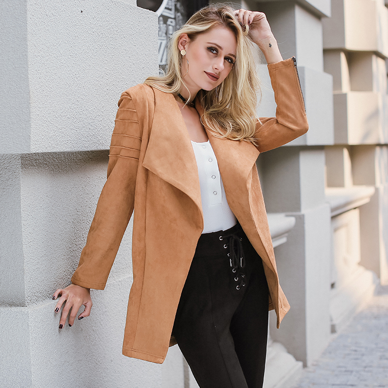 Lily Rosie Girl Khaki Suede Leather   Jacket   Casual Zipper Long Open Coat Autumn Winter 2018 Outwear Women   Basic     Jacket   Streetwear