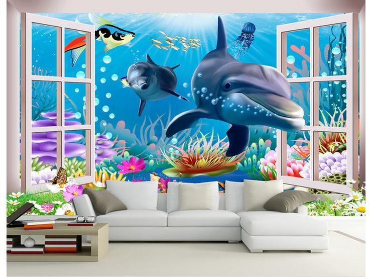 Купить с кэшбэком Custom photo wallpaper 3d mural beauty underwater world aquarium cartoon mural children room background wall paintings wallpaper