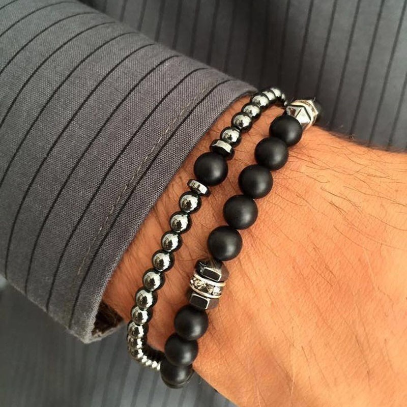 Fashion Multi-piece Set Mens Bracelets Temperament Geometric Beads Bracelet Men Pave Cubic Zirconia Bangle Set Jewelry Gift