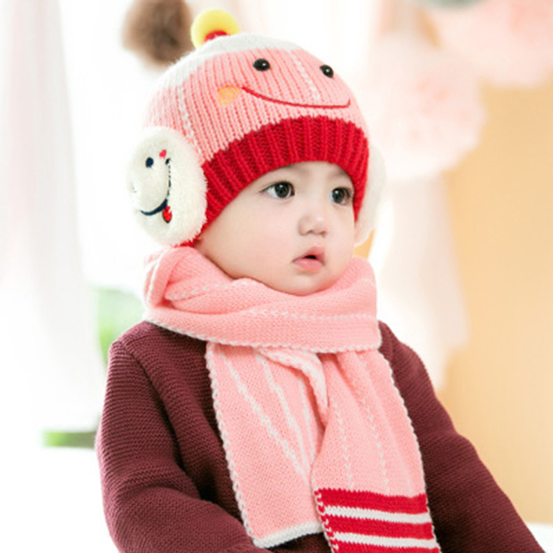 4cefb9d12bb Baby Caps Childrens Winter Hat Hats For Girls Boys Kids Hat Scarf Set  Knitted Cartoon Fox ...
