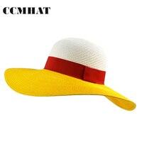 CCMHAT Moda Kadın Yaz Hasır Şapka Kadınlar Için Patchwork Güneş Kremi Plaj Geniş Brim Şapka Chapéu Feminino Kızlar Summer Sun Şapka