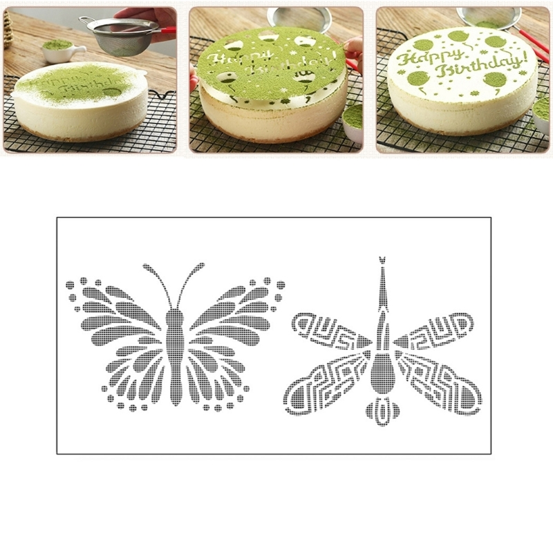 Dragonfly Butterfly Spray Cake Mold Strew Pad Duster Fondant Art Stencil Decor Mar