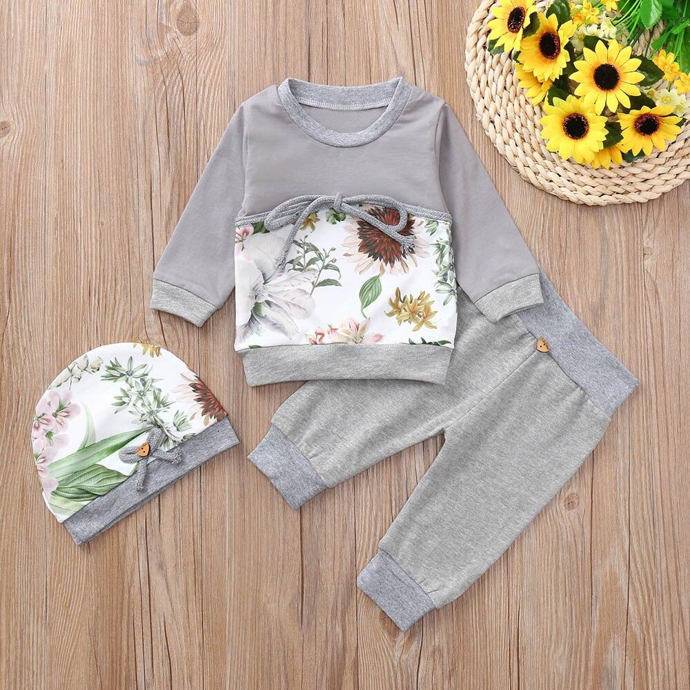 MUQGEW 2018 baby girls clothes set girls clothing 3PCs Floral Print Tops Pants Hat Winter clothes for children roupas menina