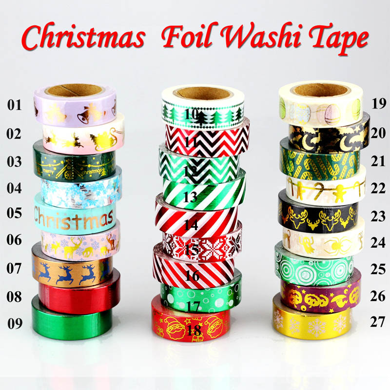 1X Red Green Roll Japanese Washi Tape Christmas Set Bat Elk Decorative Masking Tape Halloween