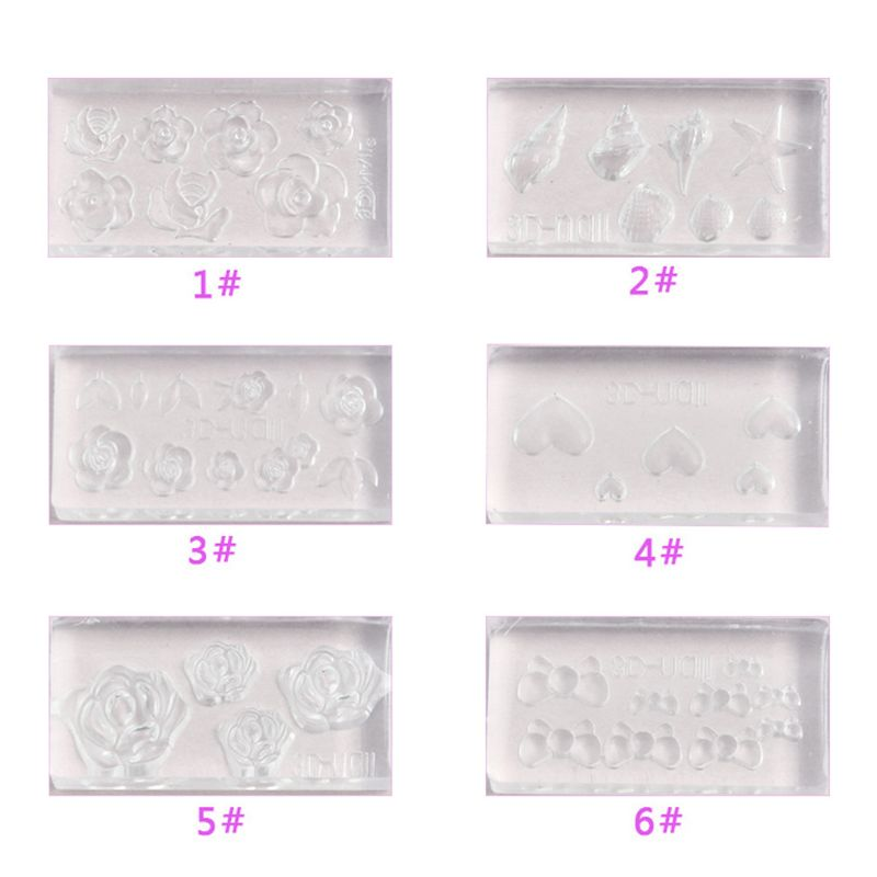 6Pcs 3D Stereo Mini Flower Carving Mold Nail Art Mould Template Silicone Mold in Jewelry Tools Equipments from Jewelry Accessories