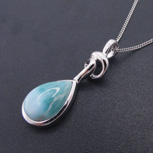 Image 1 - Pendentif Larimar en argent Sterling nouveauté, perles naturelles, 9x13mm, bijou fin pour femme, 925 goutte de larme, pour cadeau, breloque collier