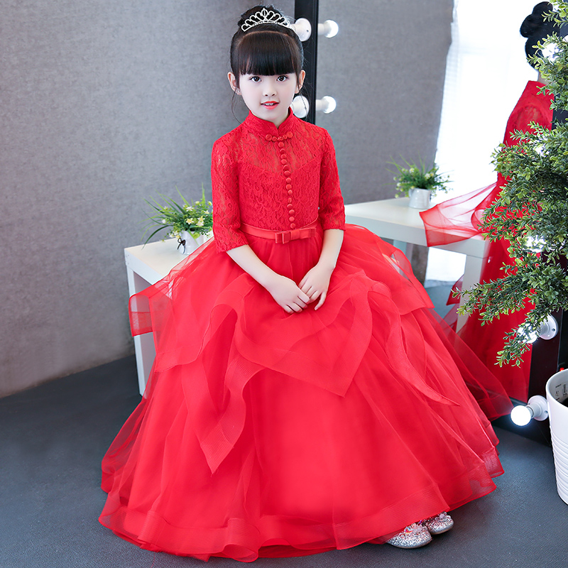 Red Luxury Elegant Children Kids Princess Lace Birthday Wedding Party Costume Dress Girls Babies Ball Gown Performance Dress 2018 summer new children girls elegant noble birthday wedding party lace princess dress kids hand made beading ball gown dress