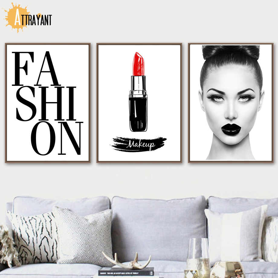 Fashion Girl Makeup Salon Wall Art Canvas Painting Nordic Posters And  Prints Wall Pictures For Living Room Bedroom Home Decor